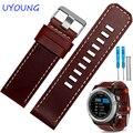 26mm pulseira de couro marrom qualidade genuína banda de relógio de couro com ferramentas para garmin fenix 3
