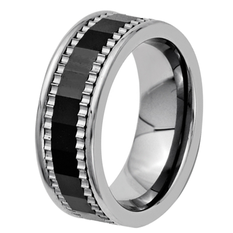 7mm mens cool pure titanium wedding band wheel gear with black ceramic combination ring comfort fit - Gear Wedding Ring