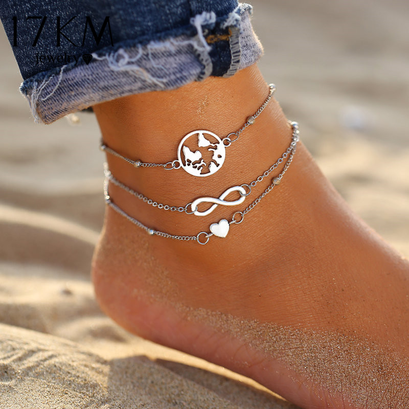 17KM Vintage Infinite Heart Map Anklets Set For Women Silver Color Multi Layer Anklet Bracelets On Leg Fashion Beach Jewelry New