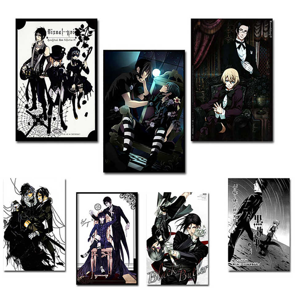 Nordic Modern HD Prints Home Decor Black Butler Painting Wall Art Canvas Picture Anime Poster For Living Room Watercolor Modular