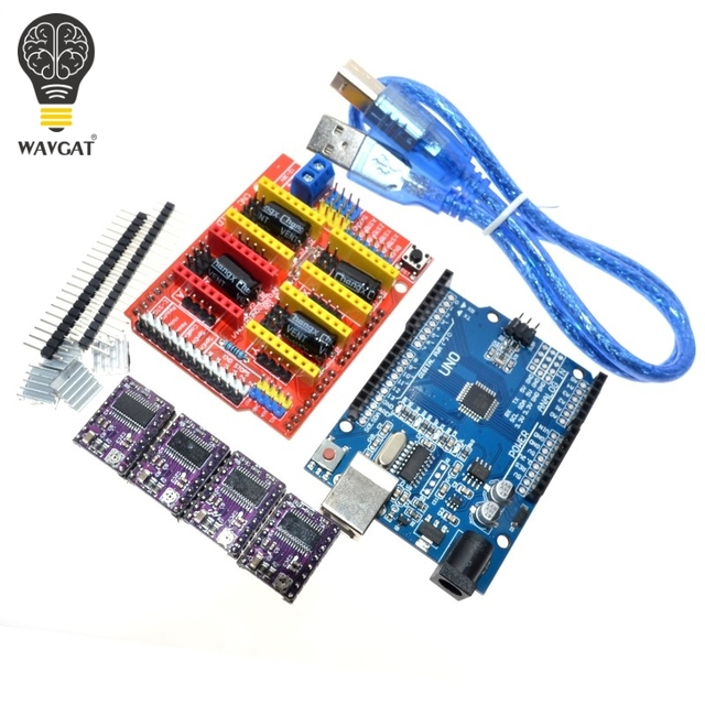 Free shipping cnc shield V3 engraving machine 3D Printe+ 4pcs DRV8825 driver expansion board for Arduino UNO R3 with USB cable