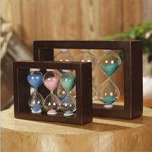 Wood 1/2/3 Minute Siamese Timer Creative Combination 1/3/5 Color Hourglass Simple Style Home Desktop Ornaments