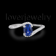 Vintage 14Kt White Gold Natural Diamond Sapphire Ring 585 White Gold Ring For Sale Oval 5x7mm SR00119A