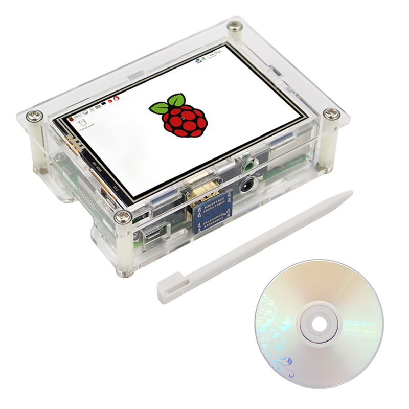Raspberry Pi 3 Model B 3.5 Inch HDMI Touch Screen Display 480 x 320 LCD + Acrylic Case Compatible with Raspberry Pi 3B+ Plus/2