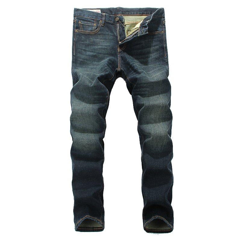 ФОТО European Classic Denim Men Jeans Retro Design Slim Straight Stripe Jeans Mens Pants Simple High Grade Quality Street Jeans Men