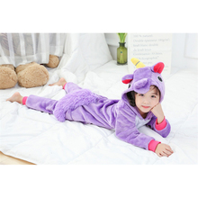 Unicorn Onesie Kids Purple Pajama Overalls Animal Cosplay Cartoon Sleepwear Girls Festival Holidays Party Suit Flannel