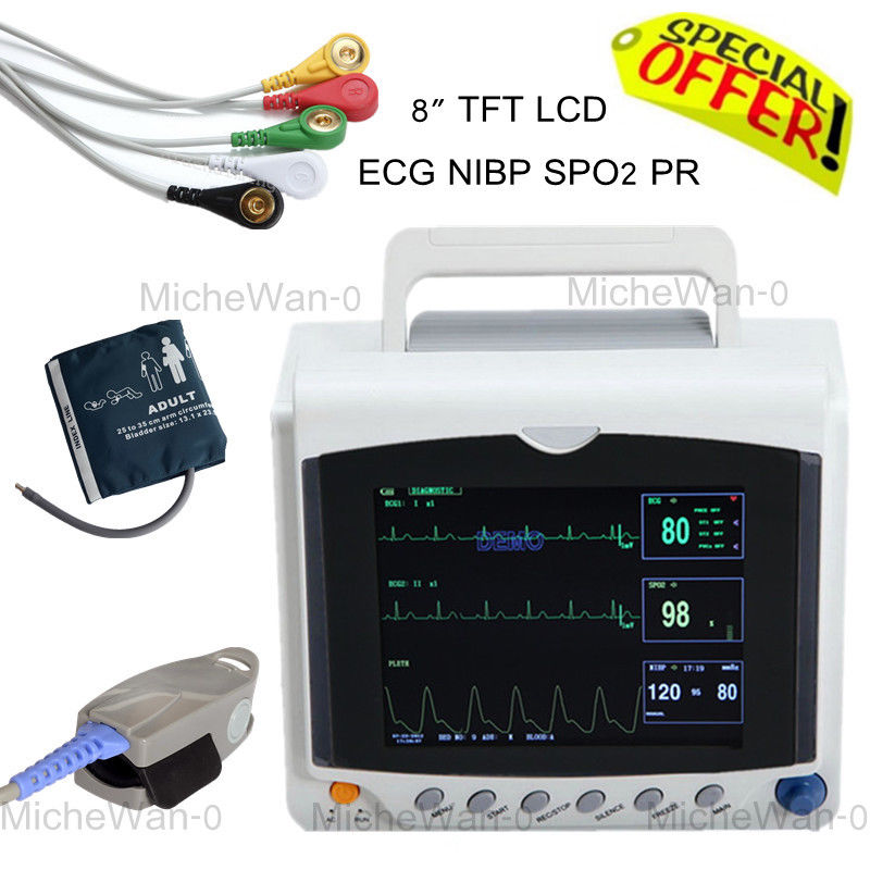 CONTEC Brand NEW ICU Patient Patient Monitor with ECG NIBP SPO2 PR Multi-parameter CONTEC Direct Sale CMS6000 thermal printer free 1 printer paper for contec multi parameter patient monitor