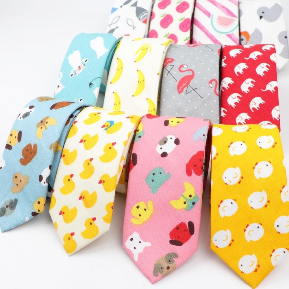 Cotton Men's Colourful Tie Duck Dog Fruit Flower Ties Narrow Kids Children Necktie Slim Skinny Cravate Narrow Thick Neckties