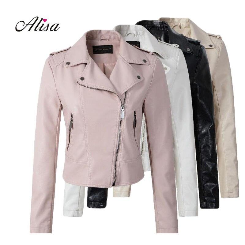 New 2018 Spring Ladies Leather Jackets Female Casual Pink Faux Leather Jacket Women Slim Zipper Black Bikers Jacket Moto Coats