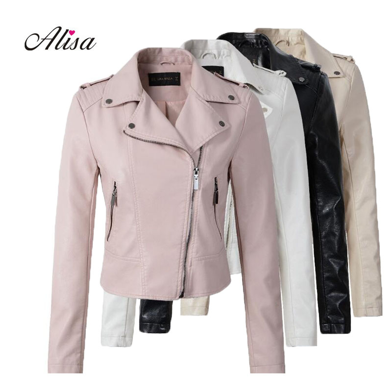 New 2018 Spring Ladies   Leather   Jackets Female Casual Pink Faux   Leather   Jacket Women Slim Zipper Black Bikers Jacket Moto Coats