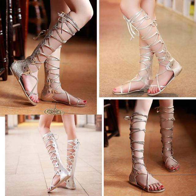1119f337356 yuyan Silver gold Womens PU Leather Gladiator Sandals Lace UP Strappy Knee  High Summer Boots girls School Shoes US 4.5 5 6 7 8 9