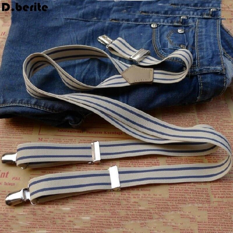 Casual Mens Striped Braces Unisex Adjustable Clip-on Suspenders Clip Braces Adult Belt Strap For Wedding Party BDXJ2523