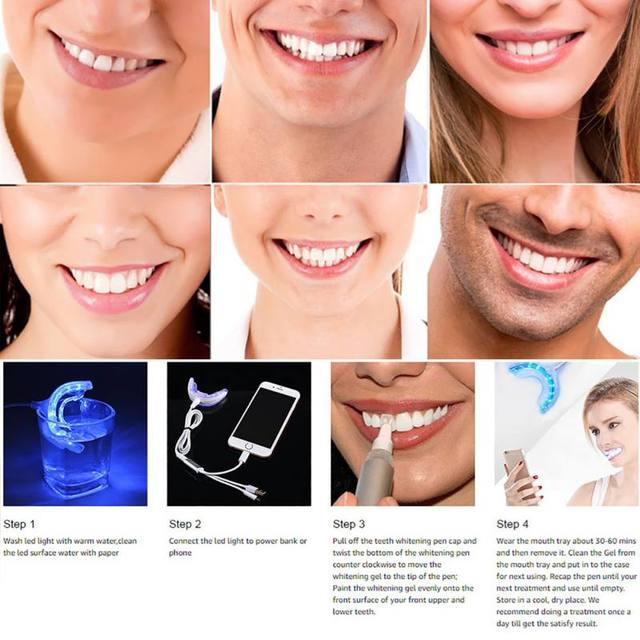 Portable Smart Led Teeth Whitening Device Usb Ports For Android Ios