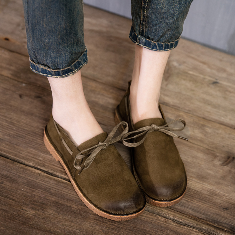 2017 Spring Womens Flats Camel Handmade Women Shoes Cheap Genuine Leather Ladies Boat Shoes Kahki Set Foot For Women Round Toe beyarne rivets decoration brand shoes flats women spring autumn fashion womens flats boat shoes sexy ladies plus size 11