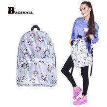 Bagsmall 3D печати рюкзак для девочек Единорог школьная сумка для подростков женские рюкзаки женские путешествия рюкзак