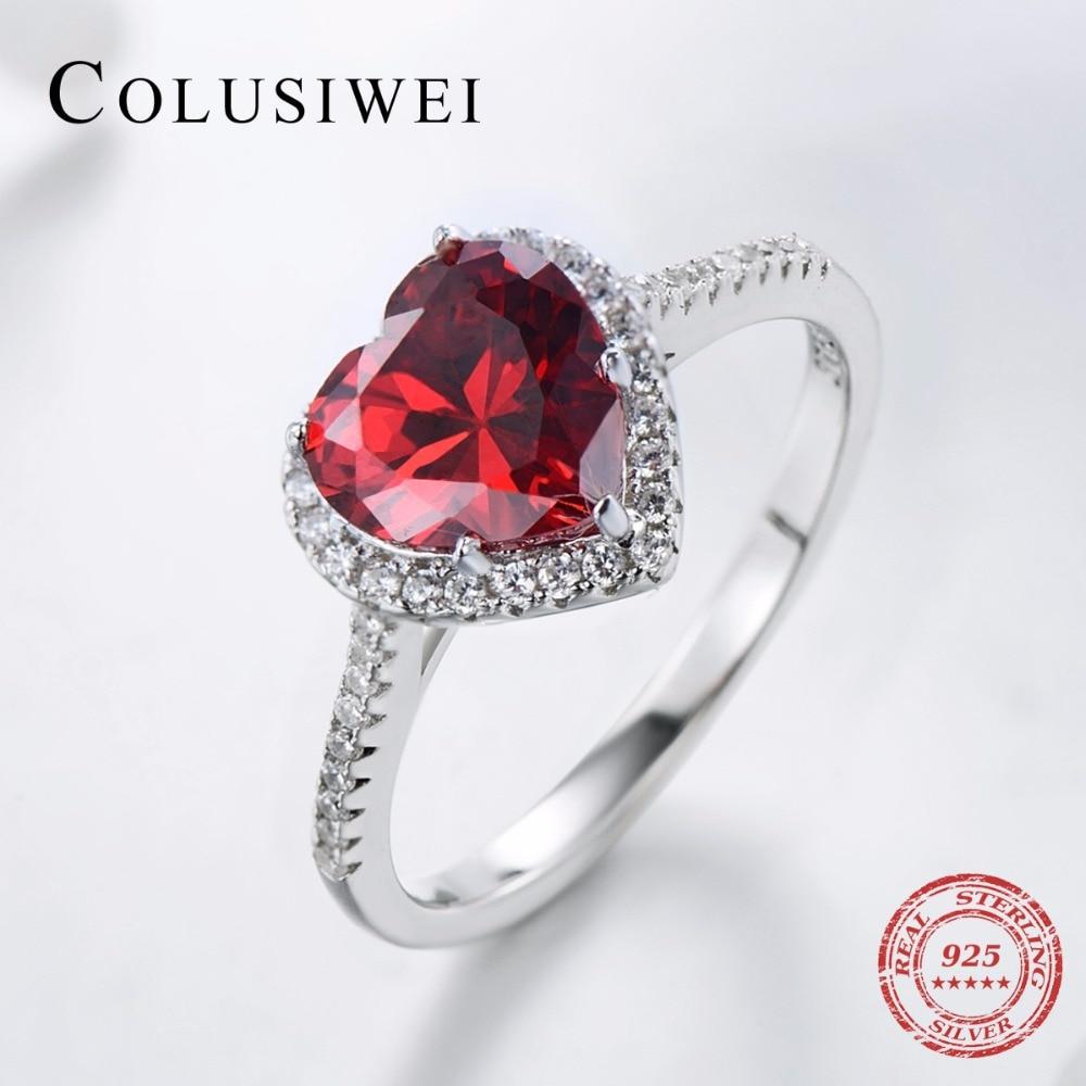 Zaročna srca Soild Real 925 Sterling Silver Ring cirkonij 5A CZ Poroka Rdeče Srce Nakit blagovne znamke Obroči za darilo za ženske
