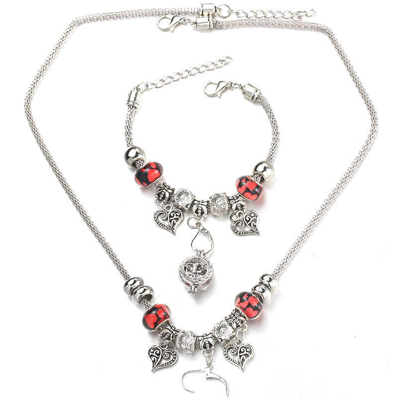 6 Colors Heart Shaped Necklace Bracelet Set Fine Silver Bead Hollow Chain Beaded Bracelet With Hooks DIY Pendant Jewelry Gift