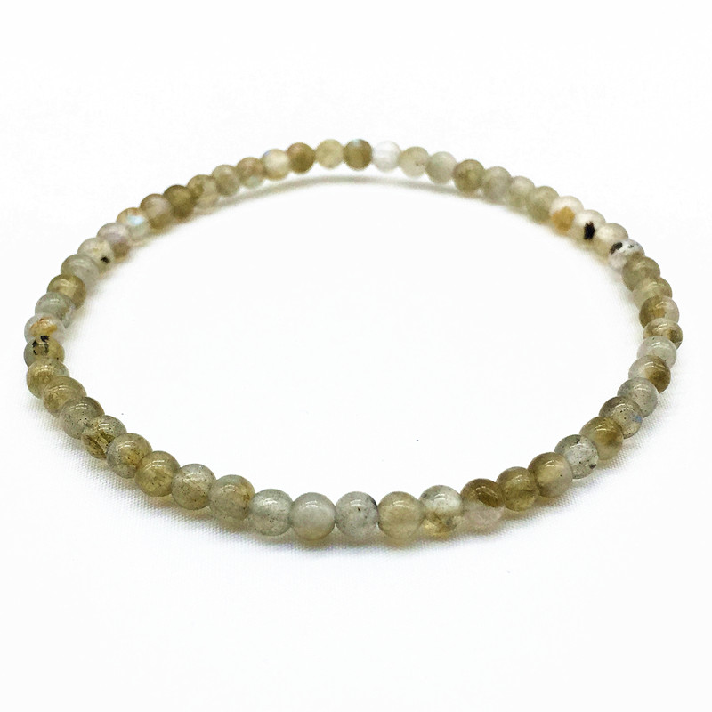4 mm Labradonite Beads  Women Men Girls Bracelet Nature Stone Not synthetic 17.5 CM Long Gift