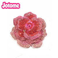 50/100pcs Fashion 50mm Rhinestone sparkly crystal enamel rose flower brooch pin for gift/party/Wedding invitation
