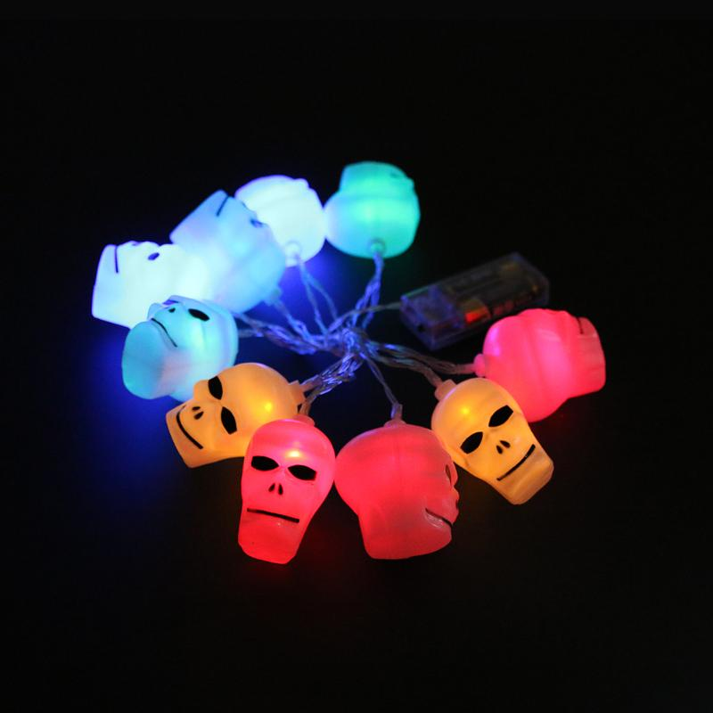 10pcs LED Halloween Fairy Battery Operated String Lights Skull Shape Light for Holidays  ...