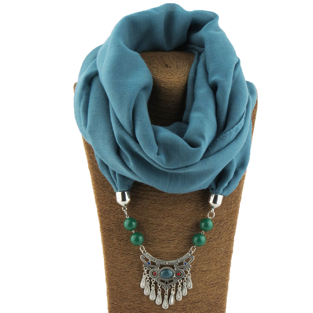 Design Style Pure Color Small Fresh Tassel Matching Beads Pendant Ladies Scarf Jewelry Necklace Scarf Free Shipping