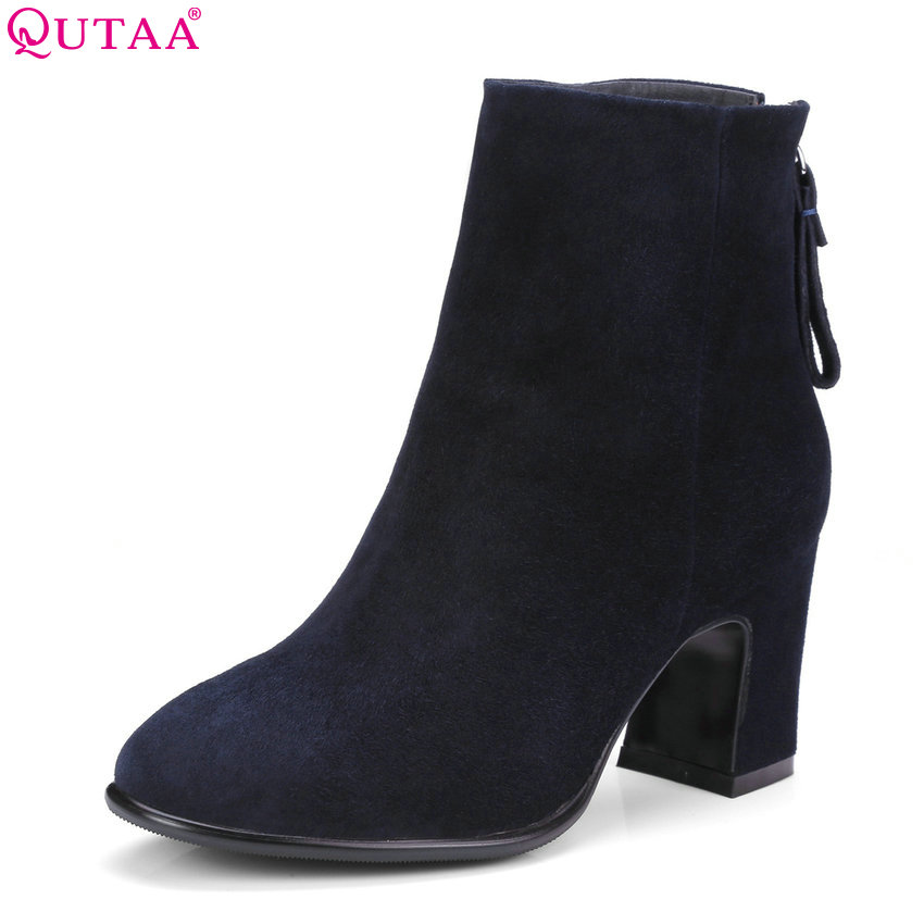QUTAA 2018 Women Ankle Boots Fashion Cow Suede + Pu Leather Square Toe Zipper Deisgn Square High Heel Ladies Boots Size 34-39 qutaa 2018 women ankle boots fashion zipper square high heel pointed toe pu leather spring and autumn women boots size 34 43