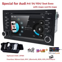 2Din 7CarDVD GPS For Audi A4 2002 2008 S4 RS4 8E 8F B9 B7 RNS E 2Din DVD For A4 Stereo Sat Nav DVD Screen Mirroring/DAB+ Radio