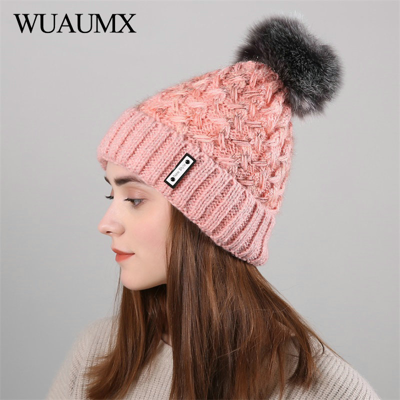 Wuaumx New Style Winter Hats For Women Pom pom   Skullies     Beanies   Cap Keep Warm Knitted Hat With Velvet Female Cap czapka zimowa