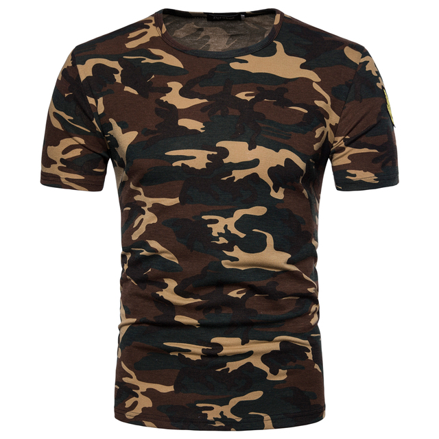 New Arrivals short sleeved T-shirt Male Camo pattern summer T-shirts Men slim O-neck cotton elastic casual t-shirt EU/US size