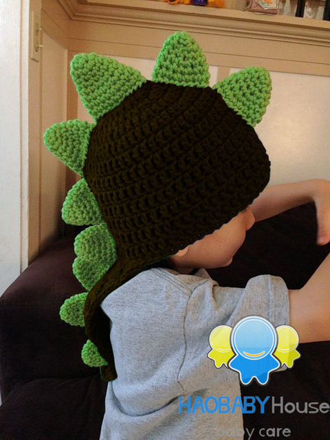 Handmade Unisex Crochet Dinosaur Beanie Crochet Spikes Earflap