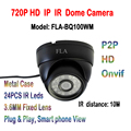 1.0MP 720P Mini IP Camera Waterproof 24 IR LED 3.6mm Lens HD Network Cam Dome Metal Outdoor Indoor Camara P2P Cloud Phone View