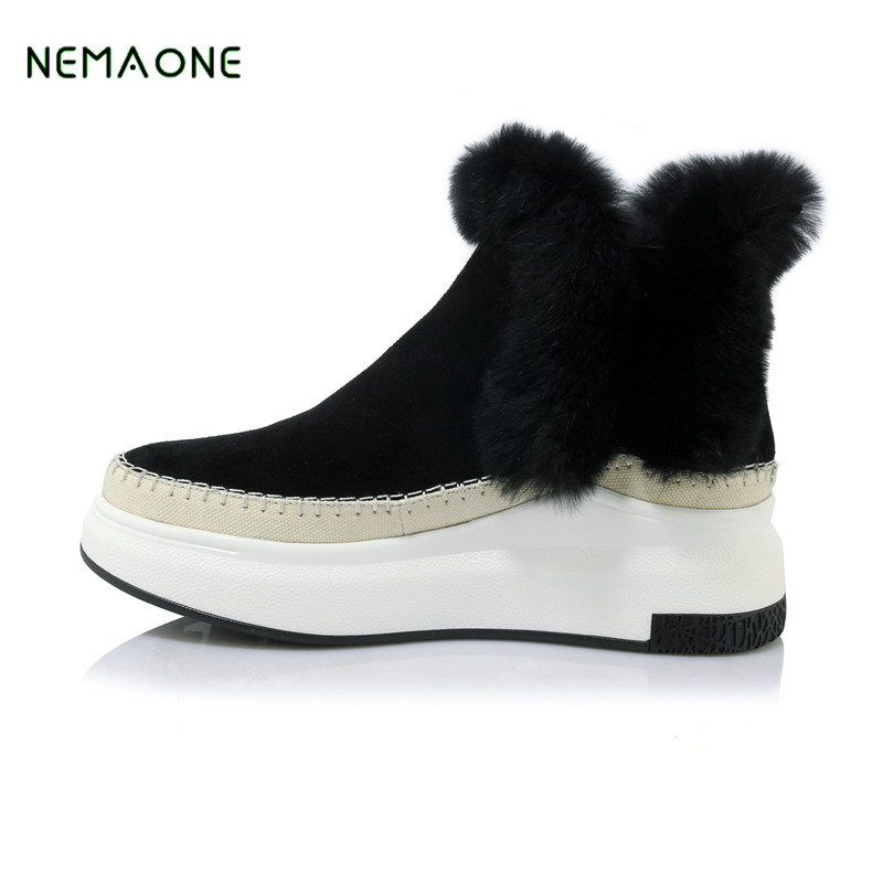 NEMAONE 2017 NEW genuine leather women winter boots, thick wool warm women Martin boots, high-quality female snow boots цены онлайн