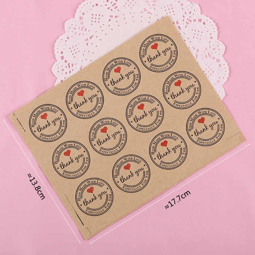 120 шт спасибо любовь самоклеящиеся Стикеры Этикетка из крафт-бумаги стикер диаметр 3 см для Сделай своими руками подарок торт конфетная бумага бирка