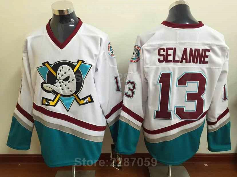 Ediwallen Mighty Ducks 13 Teemu Selanne 8 Eishockey Trikots Rot Weiß Grün Lila Selanne Rückschritt Jersey Heiße Männer