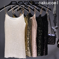 Women Sequin Camis Tank Shiny Vest Bling Chain Spaghatti Party Camisole Flashy Sparkle Embellished Slim Sexy