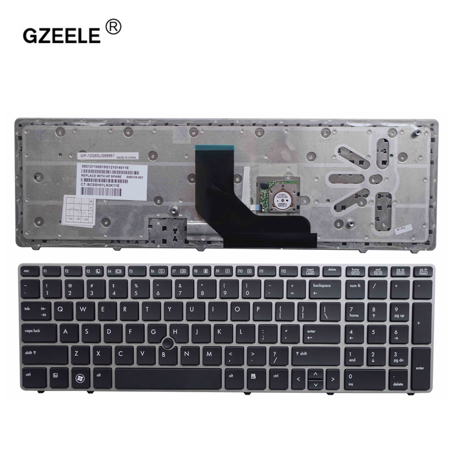 GZEELE New English Keyboard for HP EliteBook 8560p 8570P 8560B 6560b 6565b 6560P US laptop keyboard with border with pointing gzeele hot selling english keyboard for hp elitebook 8440p 8440w 8440 us laptop keyboard black without point stick