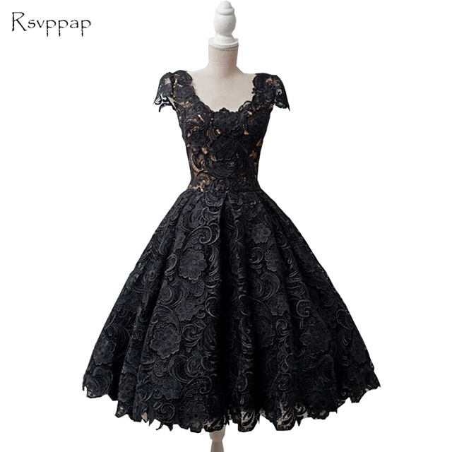 Vintage Lace Capped Sleeves Prom Dresses