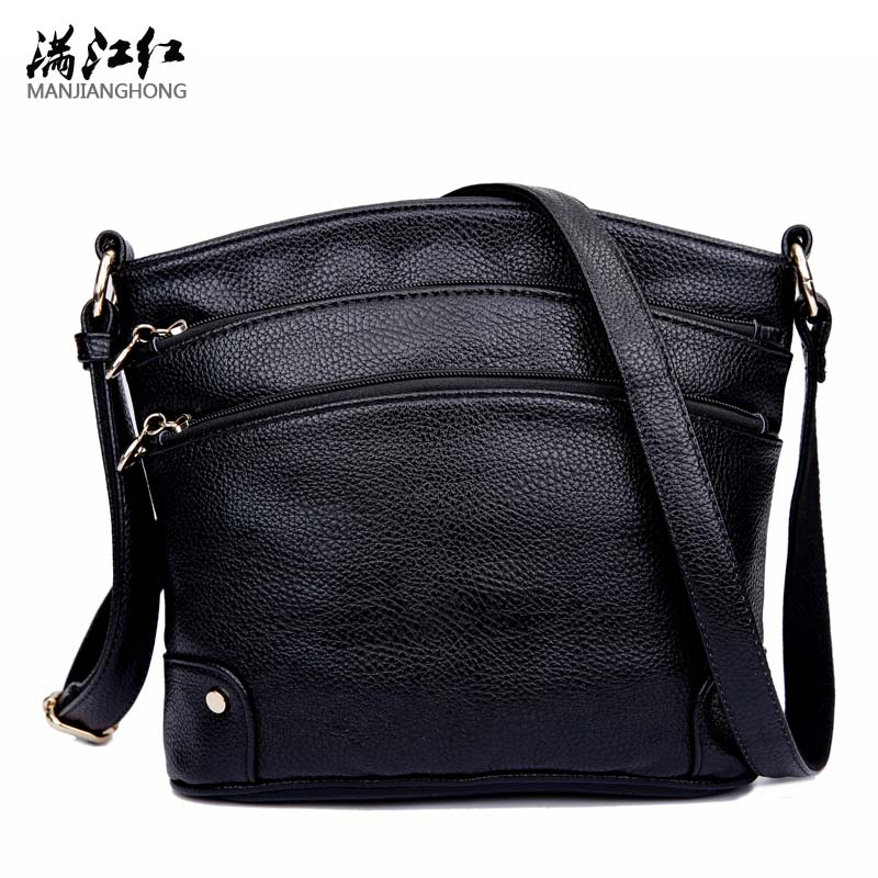 все цены на New fashion women handbag genuine leather shouler bag cow leather crossbody bag mother bag colors 3 zipper pockets Female Bolsa