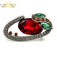 Victorian Vintage Opens Dark Red Oval Stone Brooches Gold Tone Micro Pave Crystal Branch Green Leaf Art Deco Pins Broaches Women