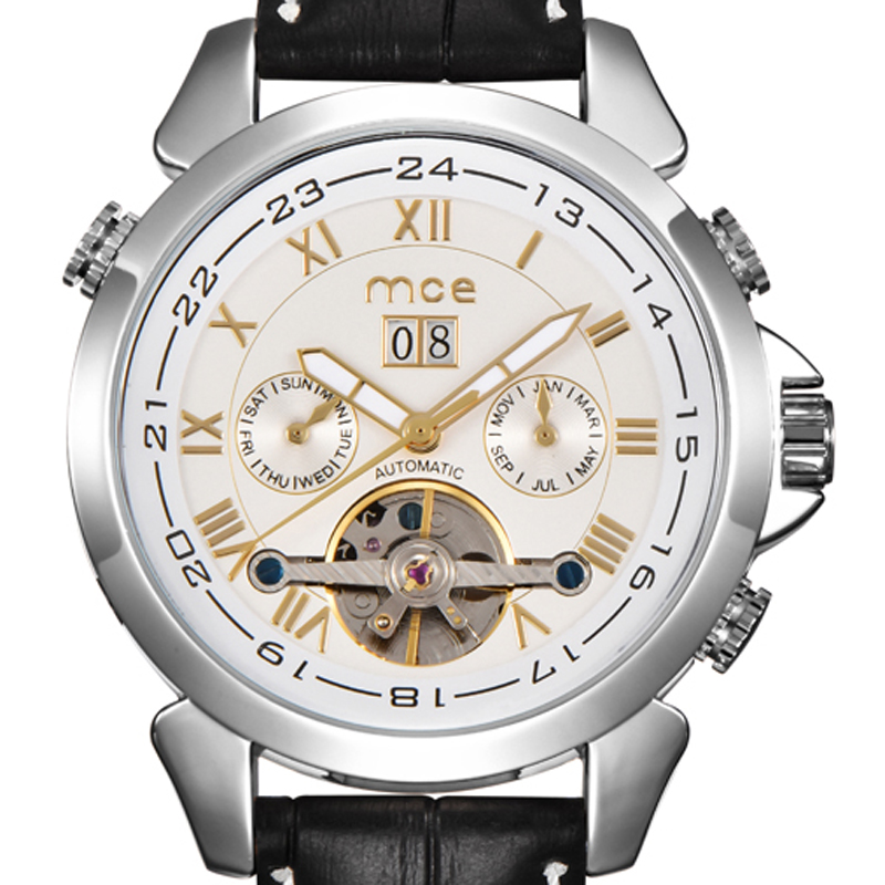 где купить MCE Watch Luxury Steel Case Tourbillon Leather Watches Date Month Mens Auto Mechanical Watch branded sport watches man 146 по лучшей цене