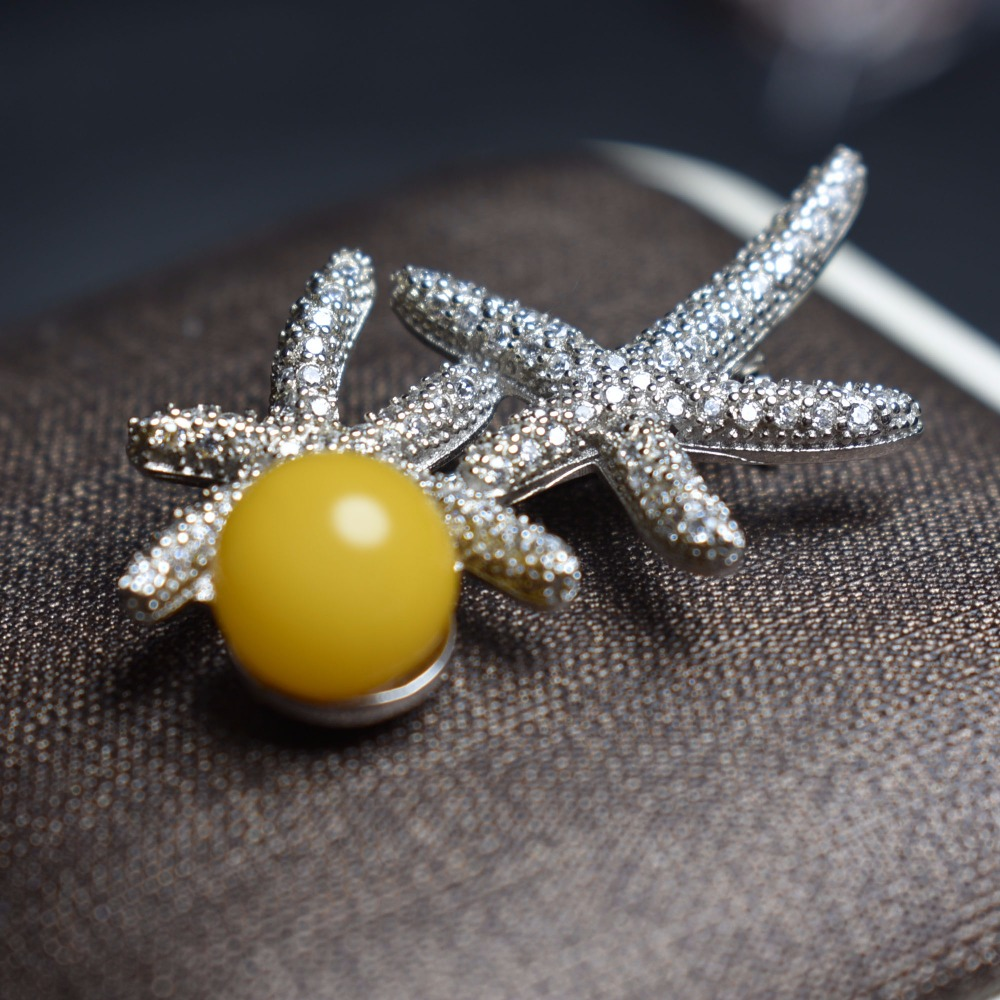 Fine Jewelry Real 925 Sterling Silver Cute Stars Natural Yellow Amber Beeswax Gemstones Female Brooches For Women Fine BroochesFine Jewelry Real 925 Sterling Silver Cute Stars Natural Yellow Amber Beeswax Gemstones Female Brooches For Women Fine Brooches