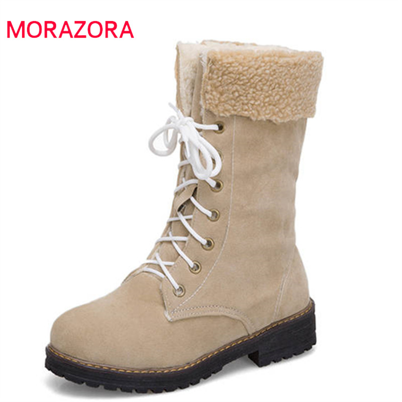 MORAZORA 2018 newest winter snow boots women round toe flock lace up boots fashion platform shoes woman ankle boots female MORAZORA 2018 newest winter snow boots women round toe flock lace up boots fashion platform shoes woman ankle boots female
