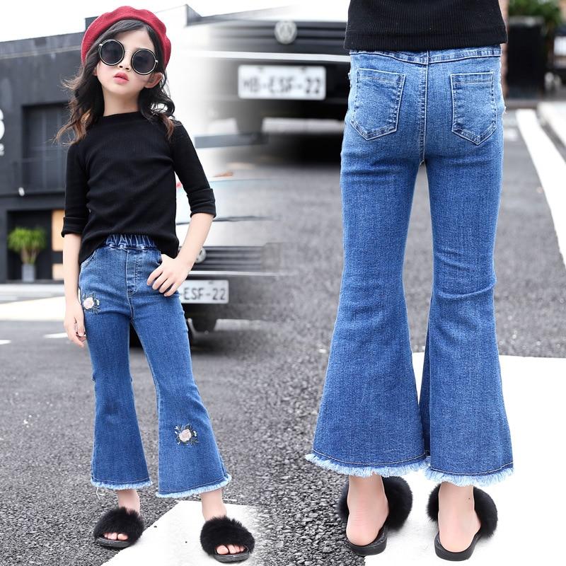 Mädchen Kleidung 5-10-jahr-alte Mädchen Neue Rose Muster Ausgestelltes Jeans Up-To-Date-Styling