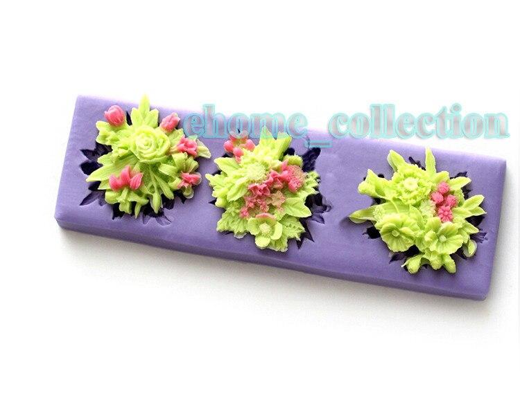 Large Size Silicone Cake Mould 3d Flower Bouquet Shapes Fondant Mold