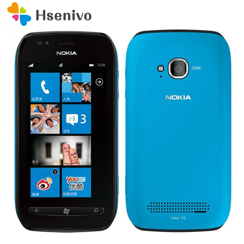 710 Original unlocked <font><b>Nokia</b></font> Lumia 710 Mobile <font><b>Phone</b></font> WIFI 3G GPS <font><b>5MP</b></font> 3.7''TouchScreen 8 GB Internal storage Free shipping image