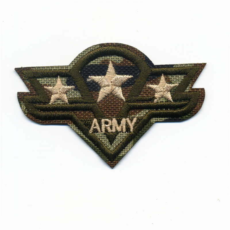 3 Stars Army College Style Embroidery Patches Iron On Or Sew Fabric Sticker For Clothes Embroidered Appliques DIY 4.8cm*7.3cm
