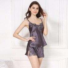 Conjunto de Pijama corto de seda sin mangas para mujer, 100% de verano, tirantes finos, sexy, elegante