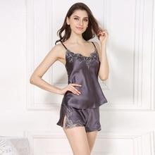 Verão 100% conjuntos de pijamas curtos de seda para as mulheres sem mangas cinta de espaguete sexy elegante sleepwear feminino shorts pijamas 16 momme