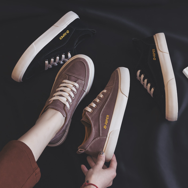 Woman Shoes New Fashion Casual Suede Leather Shoes Women Casual Breathable Color Classic Black Ladies Shoes women's Sneakers 5