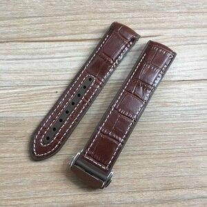 Image 3 - 20mm 22mm Dark Blue Black Brown Rubber With Leather Watch Band Strap For OMEGA Planet Ocean Seamaster 300 Speedmaster Bracelet
